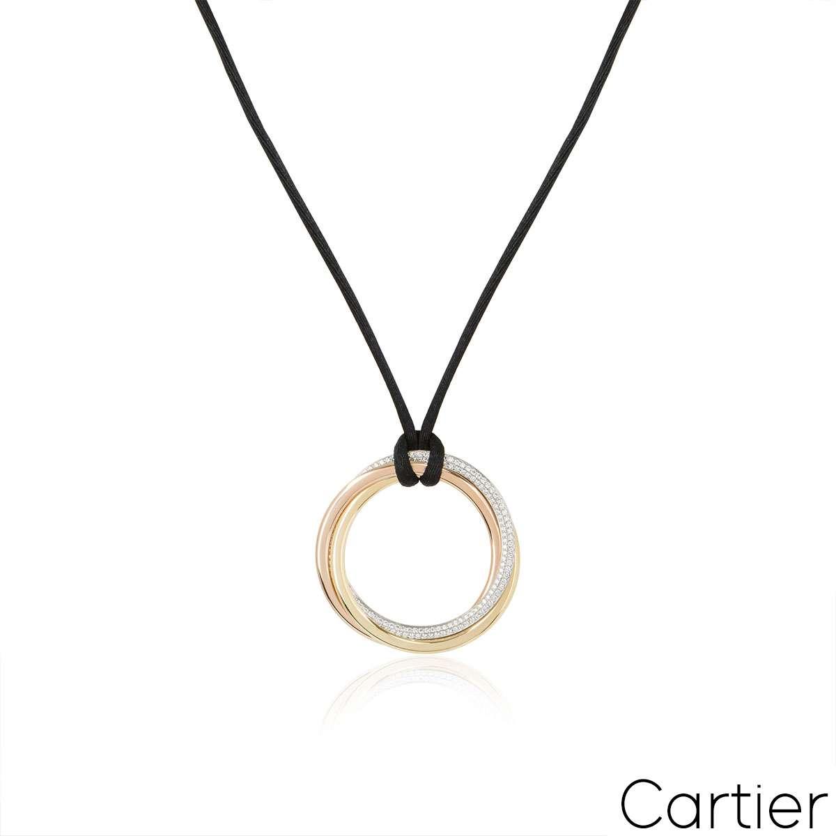 Cartier Tri-Colour Gold Diamond Trinity Necklace
